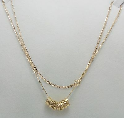 9Ct  Yellow Gold Open Curb Link Chain Necklace With 7 Patterned Lucky Rings 46Cm