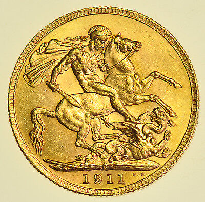 RARE 1911 C SOVEREIGN, CANADA MINT, BRITISH GOLD COIN FROM GEORGE V aBU