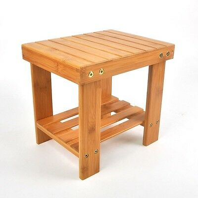 Children Bench Seat Shower Seat Stool Bamboo Safety Chair with Storage Shelf US