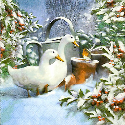 4x Paper Napkins for Decoupage Goose and Robin
