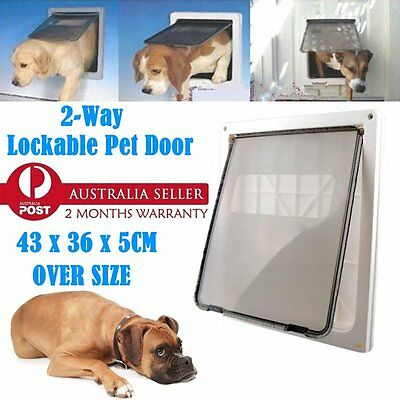 Safe 2 Way Lockable Locking Dog Cat Puppy Pet Flap Screen Door Brushy Frame M1