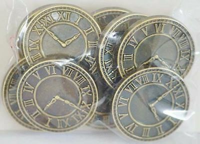 Vintage-Crafts-Sewing-Haberdashery-STEAMPUNK BRASS EFFECT CLOCKFACE BUTTONS