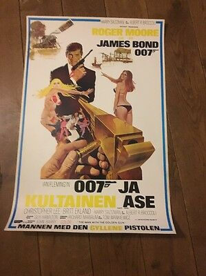 Original The Man with The Golden Gun James Bond Poster 007 Roger Moore