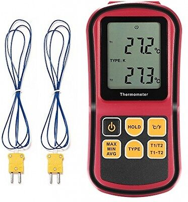 LCD Dual Channel Digital Thermometer With Two K- Type Thermocouples For And Etc