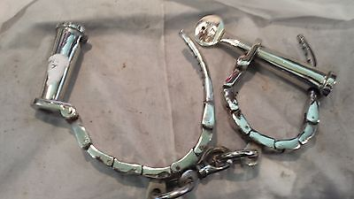 Superb Working Metal Handcuffs/Shackles + Key Georgian/Victorian/Jail/Pirates
