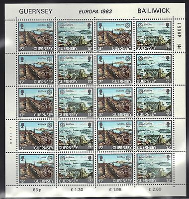 Great Britian - Guernsey Mnh Europa 1983 Full Sheets Of 10 Pairs