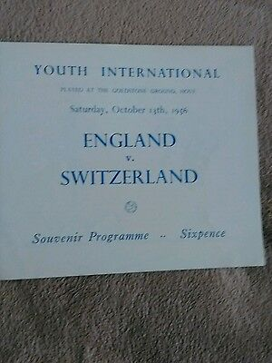 England youth v Switzerland youth 13/10/1956 @ Brighton MINT 4 PAGER
