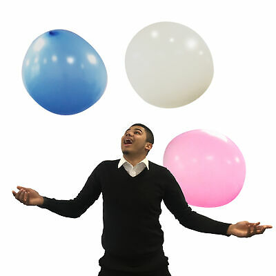 Pack of 3 Giant 36 Inch/3 Foot Diameter Balloons Blue/White/Pink - By TRIXES