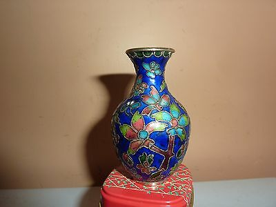 Miniature 7.2Cm Chinese Champleve Type Cloisonne Blue Vase With Flower Patterns