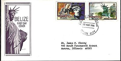 Belize First Day Cover 1986 Centennial Of The Statue Of Liberty