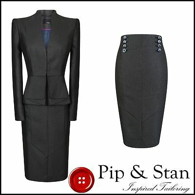 Next Pencil Skirt Suit Size Uk14/12 Us10/8 Grey Womens Woman Ladies 50S Inspired