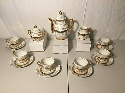 STUNNING RARE Vintage STERLING CHINA 17 pc Tea Set Gold Roses Gold Trim Japan