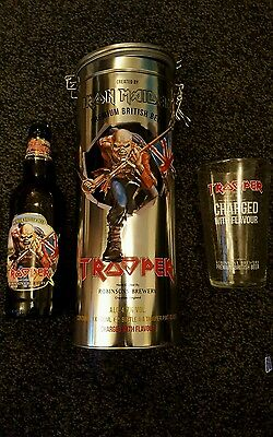 Robinsons Trooper Iron Maiden Beer Glass Bottle Set Tin ltdEdition christmas
