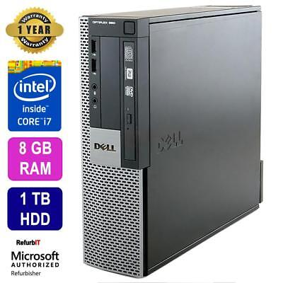 Dell OptiPlex 980 Desktop, Intel Core i7, 8GB RAM, 1TB HDD, DVD-RW, Win 10 Pro