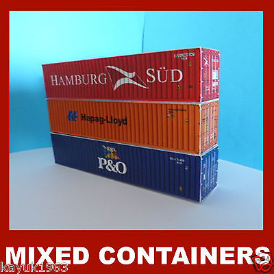 "Hamburg-Sud, Hapag, P&O"" Shipping Containers Model Card Kits 40ft x 3 OO Scale"