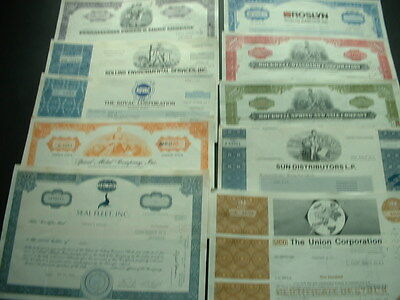 SCRIPOPHILY LOT 10 VINTAGE CERTIFICATES  10 DIFFERENT U.S.A. SHAREs