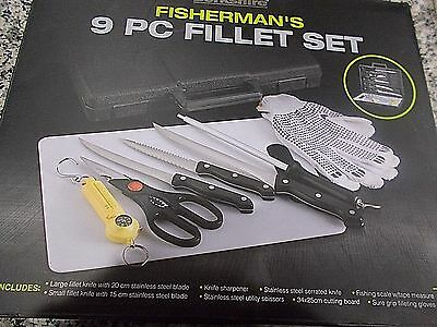 New Berkshire 9 Piece Fish Fillet Knife Set With Scale Cutting Board & Case