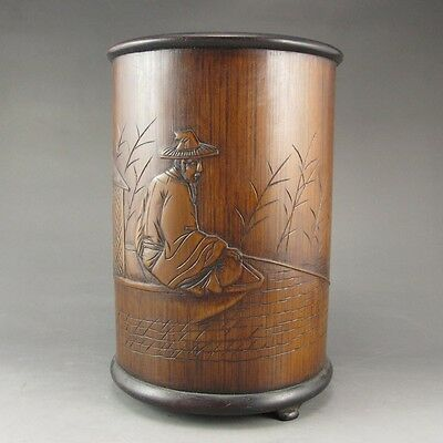 Vintage Signed Chinese Bamboo Brush Pot
