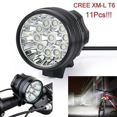 28000LM 11 x CREE XM-L T6 LED 8 x 18650 Bicycle Cycling Light Waterproof Lamp UK