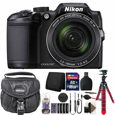 Nikon Coolpix B500 40X Optical Zoom Digital Camera 2 Batteries  Charger 16GB Kit