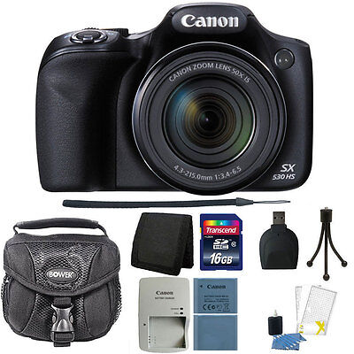 Canon PowerShot SX530 HS 16MP 50x Optical Zoom Wi-Fi Digital Camera + Deluxe Kit