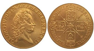 1725 24k GOLD PLATED King George 1 Guinea United Kingdom - COPY COIN