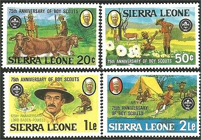 Sierra Leone Scouts 75th Baden Powell Fishing Cow MNH ** (105)