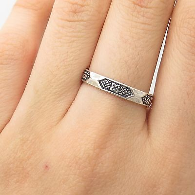 MMA Vtg 925 Sterling Silver Love Clover Good Luck Band Ring Size 8