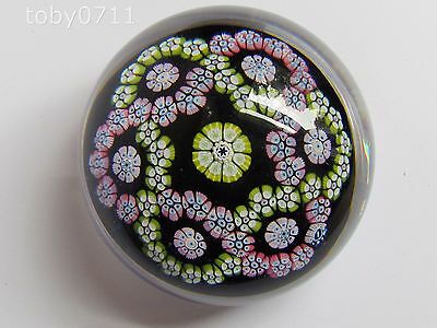 WHITEFRIARS PAPERWEIGHT BLUE/BLACK GROUND GARLAND MILLEFIORI MONK CANE (Ref2128)