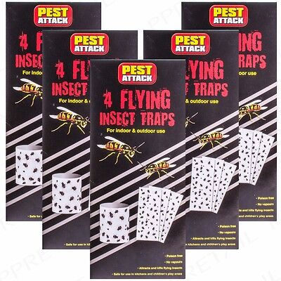 Set Of 20 ULTIMATE FLYING BUG CATCHERS Doorway Fly/Wasp/Midge Sticky Trap Pack