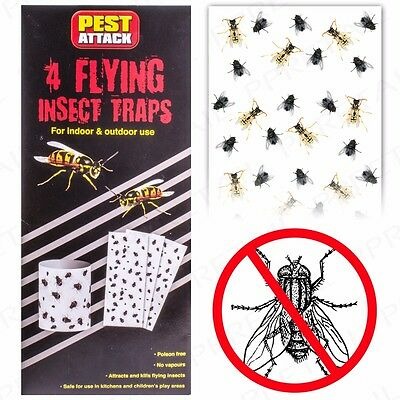 HANGING STICKY FLYING INSECT TRAPS Poison Free Fly Midge Wasp Killer 4/8/20/40Pc