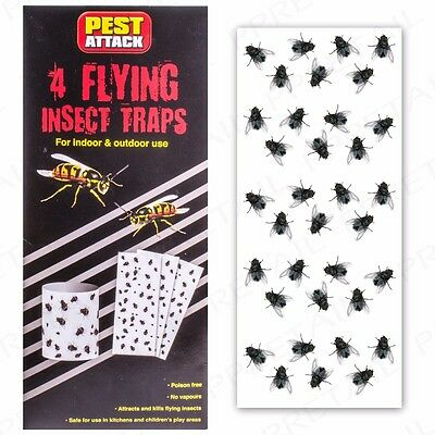 LARGE Hanging Flying Insect Traps ODOUR FREE Fly Wasp Mosquito Pest Catcher Set