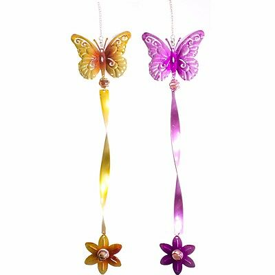 2Pc COLOURFUL HANGING GARDEN WIND TWISTERS Butterfly Decorative Spiral Mobile