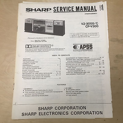 Sharp Service Manual for the VZ-3000 Turntable Stereo System Boom Box ~ Repair