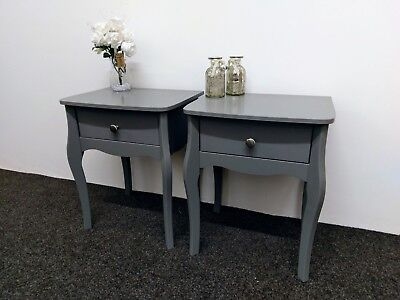 Pair Of Lyon French Style Grey 1 Drawer Bedside Table / Cabinet 45cm 55cm 35cm