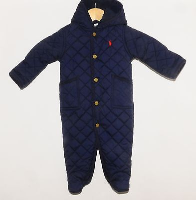 Ralph Lauren Baby 6 Month Blue Quilted One Piece Romper Snow Suit! Size 6M