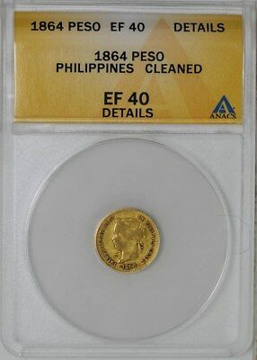 1864 Philippines Gold Peso EF40 Details ANACS