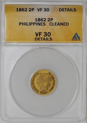1862 Philippines Gold 2 Peso VF30 Details ANACS