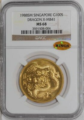 1988 SM Singapore Gold 100S Dragon X-MB41 MS68 NGC ~ WINGS