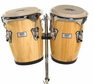 "AM Percussion Commodore 9"" + 10"" Conga Set NATURAL w/ Stand, Real Buckskin Heads"
