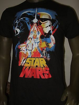 New Men's Star Wars The Force Awakens Darth Vader Storm Trooper R2 C3PO Shirt