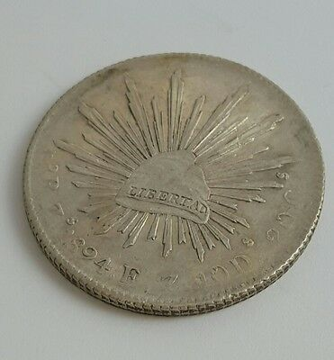 1894 Mexico 8 Reales Silver Coin- Lustrous