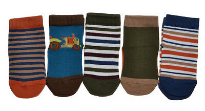 5 pairs of Baby Boys socks - Tractor & Stripes Designs