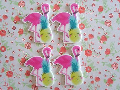4 x Cute Flamingo Pineapple Flatback Planar Resin Embellishment Crafts Hair bow