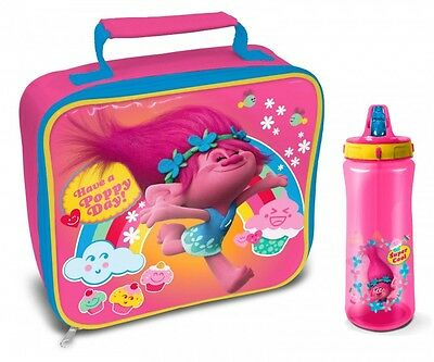 Official Licensed Product Trolls Rectangle Lunch Bag & Plastic Water Bottle Gift