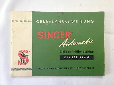singer sewing machine instruction manual in German for 316G