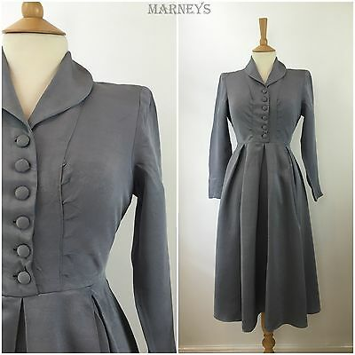 Vintage 1940s Dress Blue Grey Pleated Swing 40s Tea Dress WWII Wartime Era 10 12