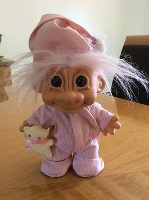 "Troll Doll 8"" Large Girl in Stripped Pink Pajamas"