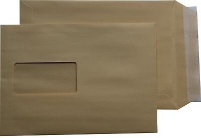 1000 st Envelopes Din A5 C5 Brown with Window Self-Adhesive Envelopes Hk