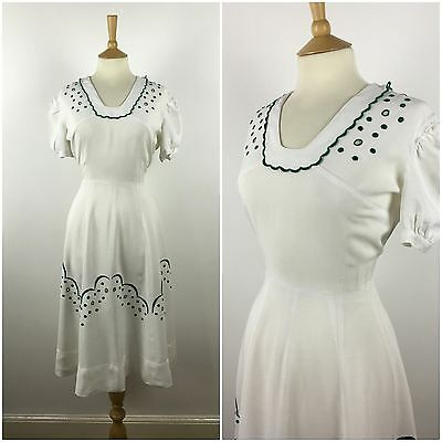 Vintage 1940s White Dress Embroidered Cotton Swing 40s Tea Dress Puff Sleeves 12